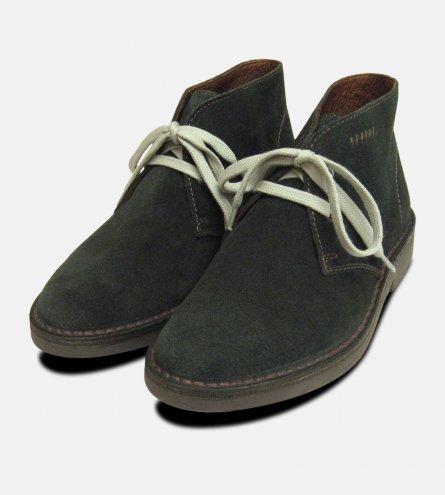 Dark Green Suede Italian Desert Boots for Women