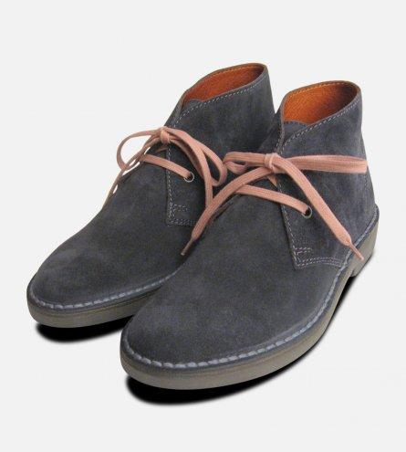 Ladies Dark Grey Suede Italian Desert Boots