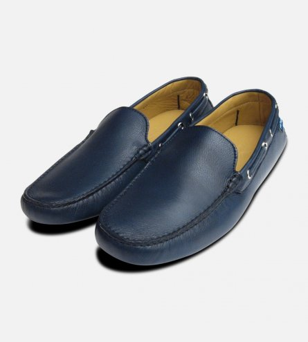 Dark Navy Blue Leather Driving Shoes for Men Arthur Knight UK