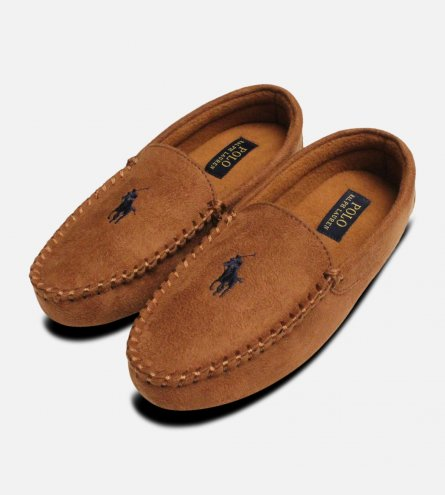 Ralph Lauren Dezi 3 Polo Snuff Brown & Navy Slippers