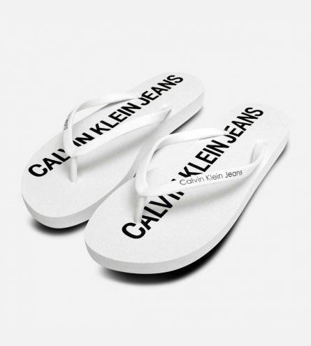 Calvin Klein Designer Dori Flip Flop Sandals in White