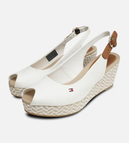 746d2911e29d Tommy Hilfiger Womens Elba White Wedge Sandals