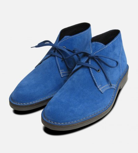 Blue Suede Prince Harry Desert Boots Mens