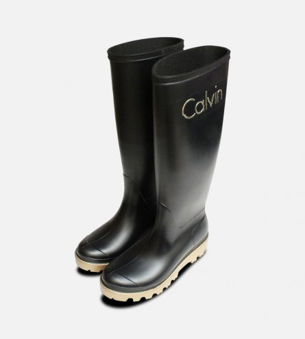 Black & Gold Calvin Klein Eliza Ladies Wellies
