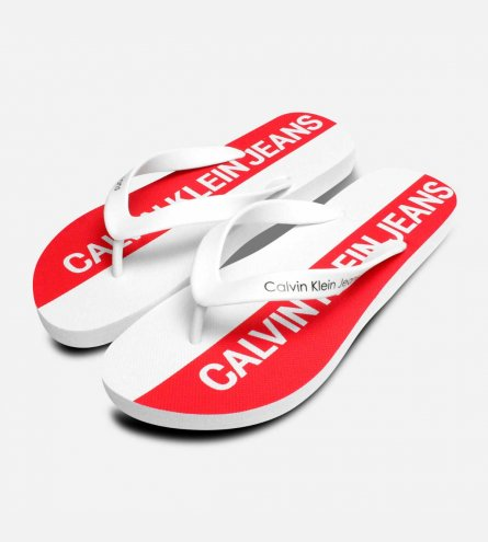 04824d7835c7 Calvin Klein Mens Errol Flip Flops in Red   White