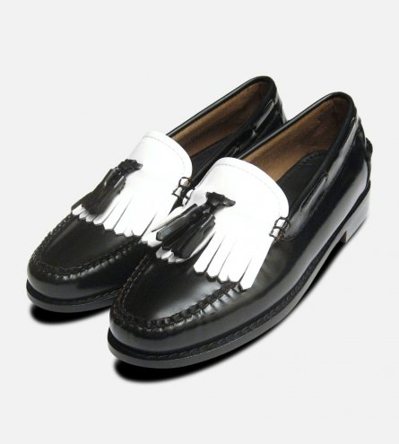 Ladies Two Tone Black & White Tassel Loafers