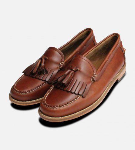 Waxy Brown Ladies Bass Tassel Fringe Loafer