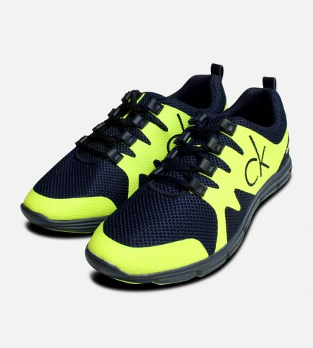 Calvin Klein Florescent Yellow & Navy Running Trainers