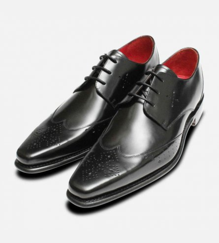 Jeffery West Formal Lace Brogue Shoes in Black Polished