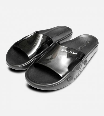 f7ef228cbee1 Calvin Klein Designer Black Francesco Rubber Beach Sandals