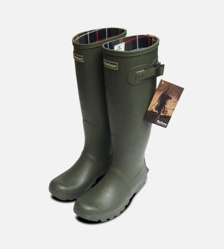 Full Length Barbour Olive Green Rubber Wellington Boots