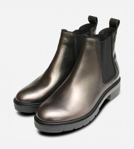 Metallic Grey Tommy Hilfiger Womens Ankle Boots