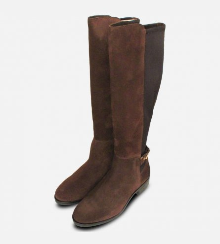 Tommy Hilfiger Buckle Stretch Boots in Brown Suede