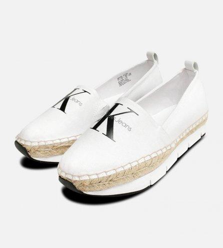 Calvin Klein Genna White Canvas Casual Espadrilles