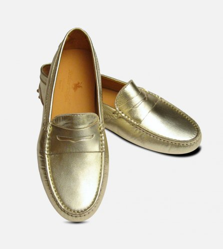 Gold Metallic Leather Arthur Knight Womens Driving Shoes