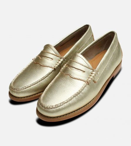 0039adda896 Metallic Gold Leather Ladies Bass Weejun Shoes