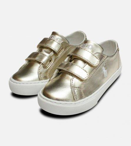Gold Ralph Lauren Polo Kids Slater Velcro Shoes