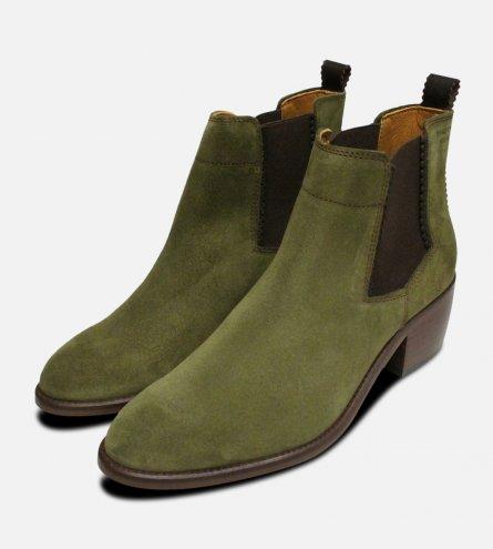 Cuban Heel Chelsea Boots in Moss Green Suede