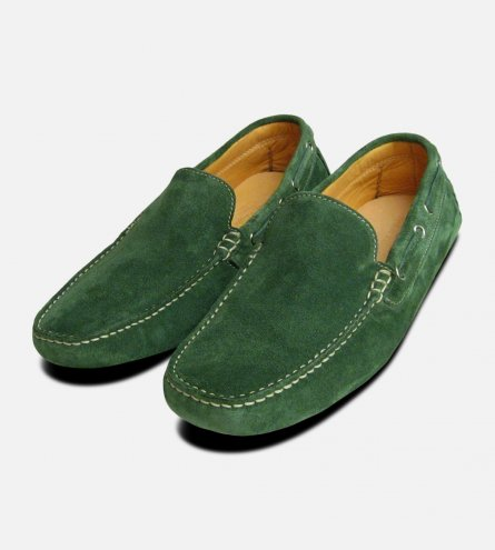 Green Suede Designer Driving Shoes