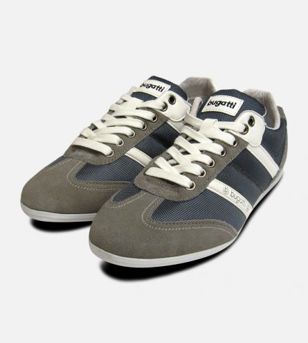 Mens Bugatti Sneakers in Grey Suede Leather Designer Trainers