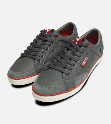 Grey & Red Leather Mens Designer Trainers by Bugatti Sneakers