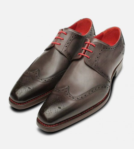 Jeffery West Red Stitched Grey Leather Brogues