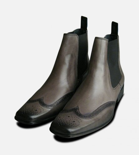 Exceed Grey Leather Mens Chelsea Boots