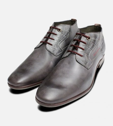 Grey Leather Mens Lace Up Boots by Bugatti