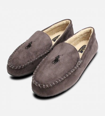 Ralph Lauren Polo Charcoal Grey Mens Slippers