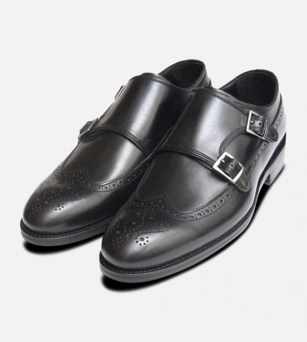 Black Calf Double Buckle Shoes Designer John White Brogues