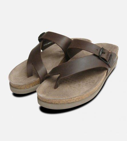 Helen Dark Brown Waxy Leather Sandals Mephisto Shoes