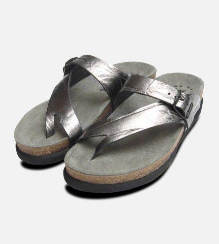 Helen in Creased Silver Metallic Leather Ladies Mephisto Sandals