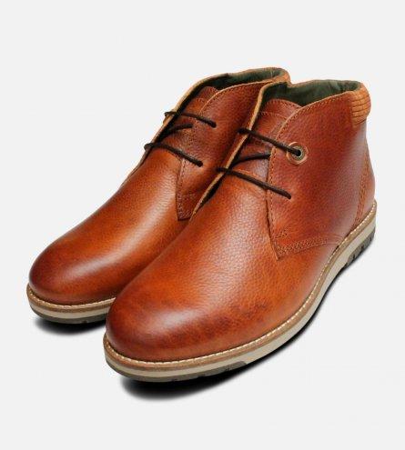 Tumble Grain Mens Barbour Cognac Lace Up Boots