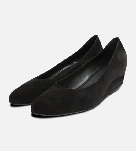 Hogl Black Suede Covered Wedge Ladies Shoes