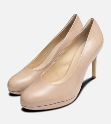 Nude Patent Hogl Breasted Heel Ladies Shoes