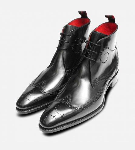 Jeffery West Black Polished Diamond Brogue George Boots