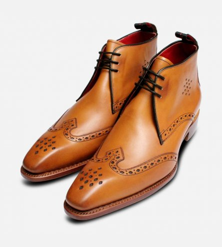 Jeffery West Diamond Punched Cedar Brown Chukka Boots