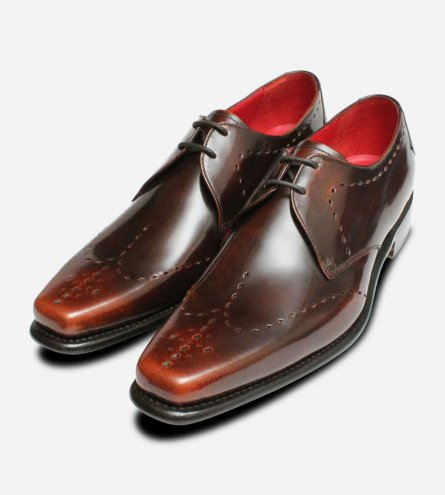 Brown Polished Diamond Brogues by Jeffery West