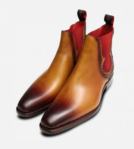 Jeffery West Light Brown Red Elastic Chelsea Boots