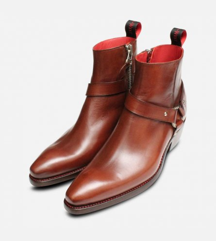 Jeffery West Premium Jailbreak Cuban Heel Zip Boots in Brown