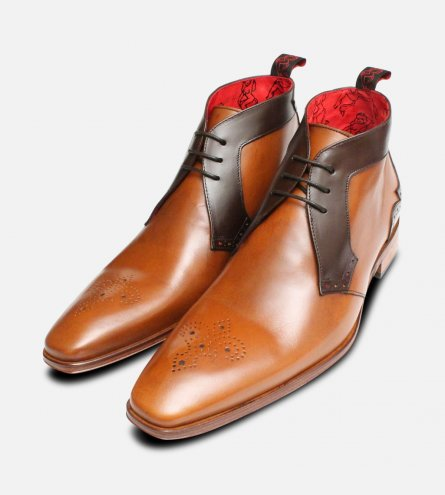 Light Brown Jeffery West Lace Up Brogue Boots for Men