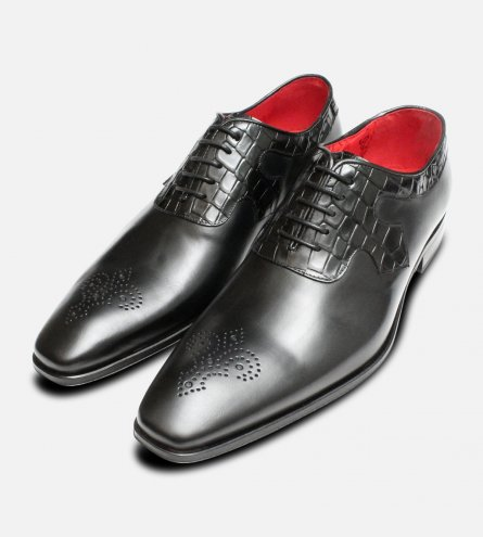 Formal Black Jeffery West Crocodile Leather Oxford Brogue