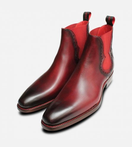 Jeffery West Dark Burgundy Red Elastic Chelsea Boots