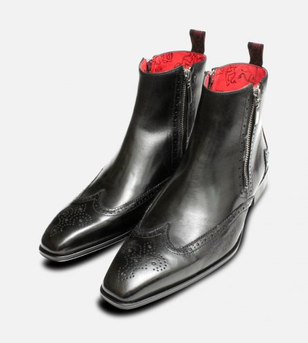 Jeffery West Black Silver Twin Zip Brogue Boots