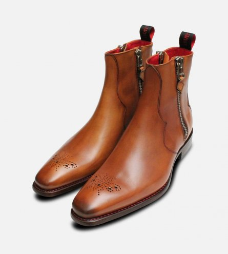 Twin Zip Jeffery West Brogue Boots in Mahogany