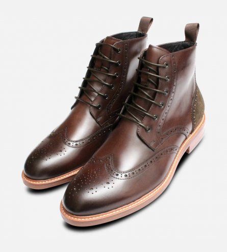 Premium John White Mens Country Brogue Boots in Brown