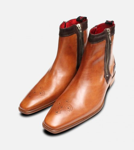 Jeffery West Twin Zip Tan Brogue Leather Soled Boots