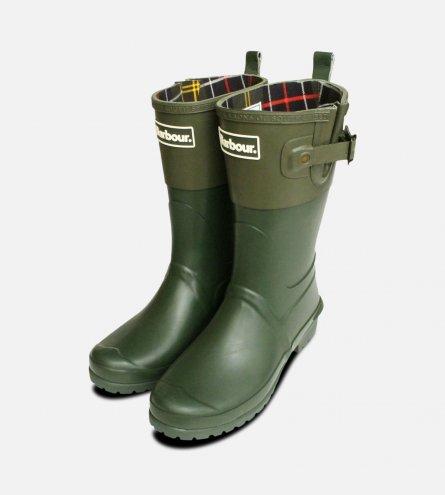 Kelp & Khaki Green Short Barbour Ladies Wellington Boot