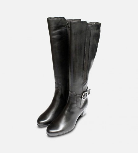 Tamaris Black Leather Knee High Boots with Heel