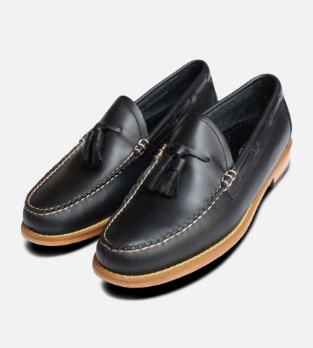 Navy Blue Waxy Mens Bass Tassel Loafers